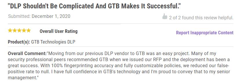 Gartner Peer GTB DLP Success